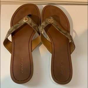 Coach Sig. C Khaki Chestnut Brown Thong Sandals